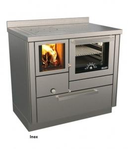 Holzherd Rizzoli RVI90 Inox mit Backofen und Sichtfenster