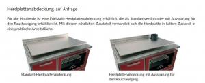 Holzherd Rizzoli RVE45 Variant ohne Backofen, mit Sichtfenster