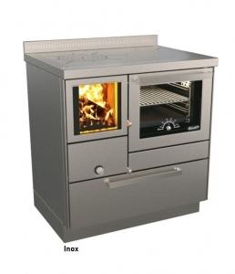 Holzherd Rizzoli RVE80 Inox mit Backofen, mit Sichtfenster